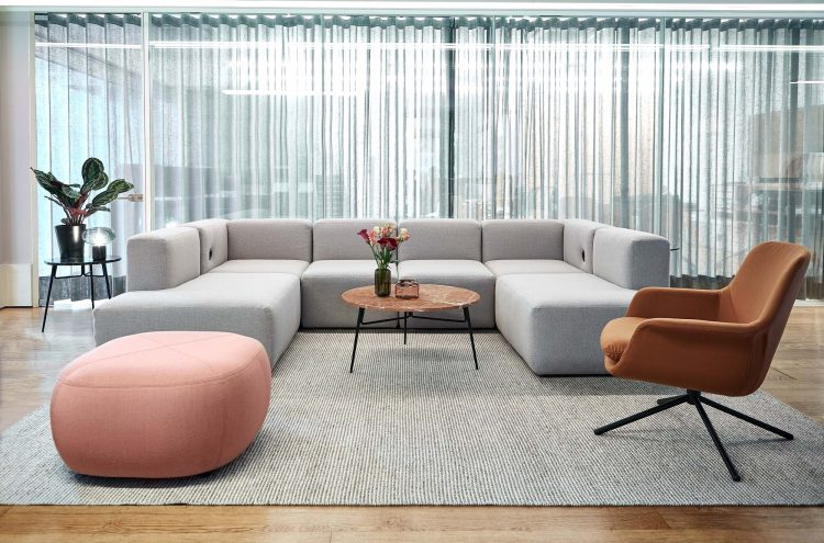 Icons of Denmark_Showroom 2019 with EC1 modular sofa, Smile lounge chair, Spire coffee table