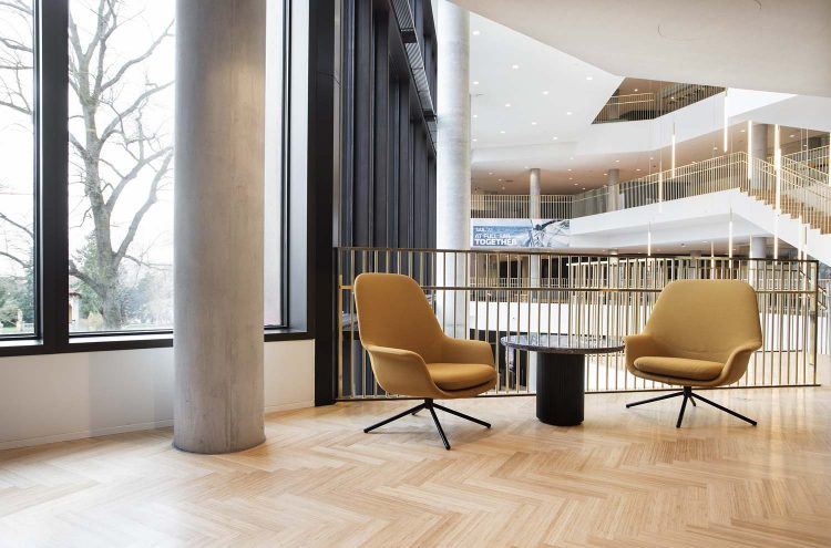 Two Smile Lounge High Back chairs with swivel base from Icons of Denmark in Carlsberg headquarters Copenhagen